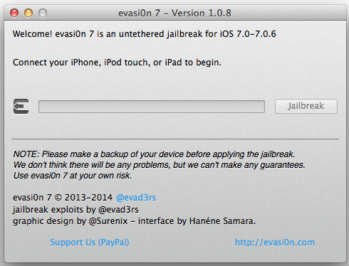 evasi0n7 1.0.8 download jailbreak ios 7.x