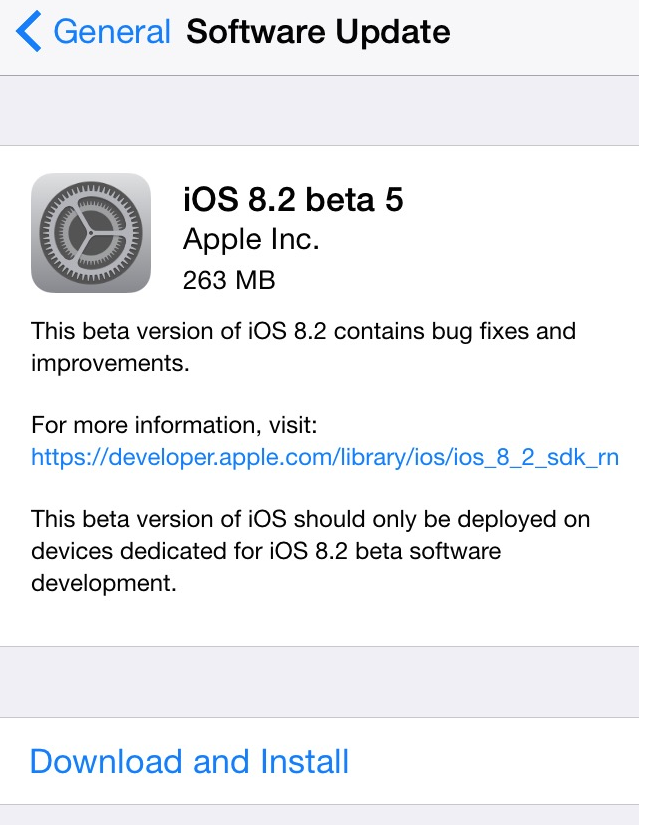 The Fifth BETA of iOS 8 Ready for Developers